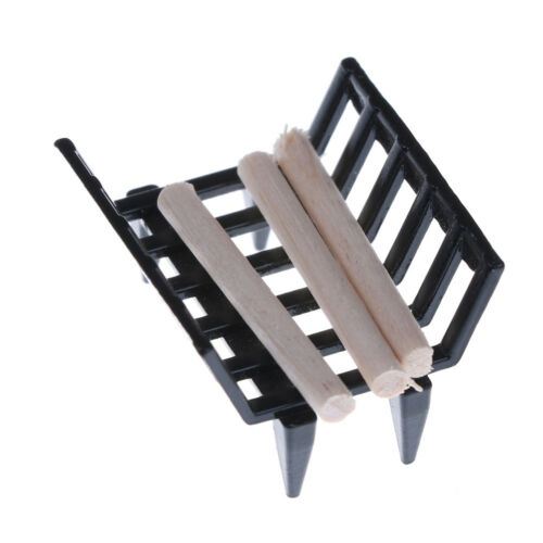 1//12 Dollhouse Furniture Fireplace Model Metal Rack with Firewood Living Room