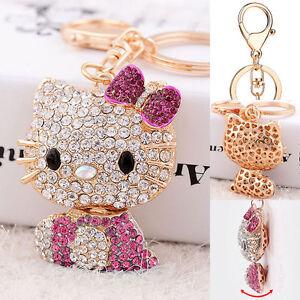 Pink-Hello-Kitty-Key-Chain-Crystal-3D-Ring-Car-Purse-Wallet-Bag-Decor-Gift-Xmas