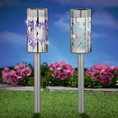 Laser Cut Solar Powered Garden Stakes Set Of 2 Butterfly