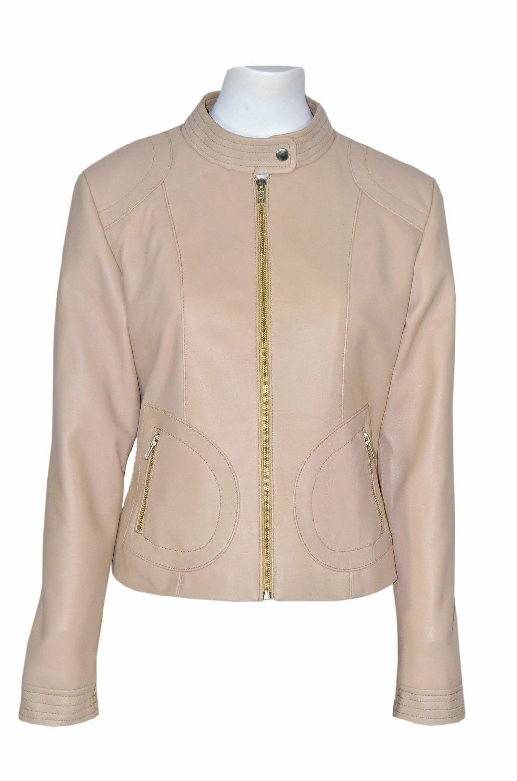 Ladies 7626 Summer Beige Cool Retro Biker Style Fitted Designer Italian Leather