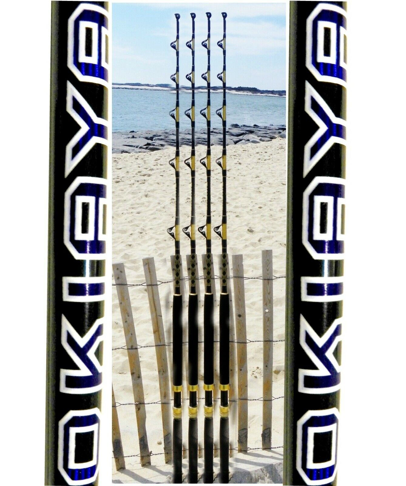 Okiaya Composit 30-50lb Agua Salada Grandes Juego Roller Rod Set De 4
