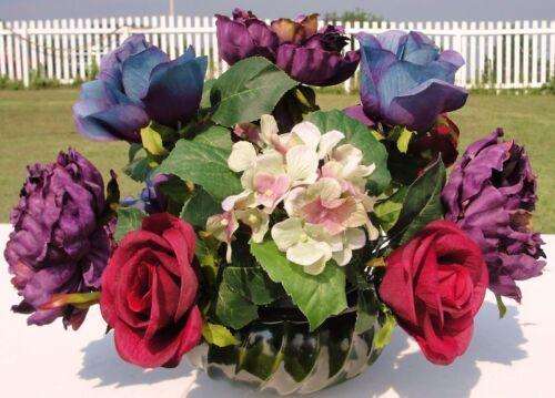 Office Desk Floral Bouquet Green Blue Mauve Purple Rose Silk Flowers Vary