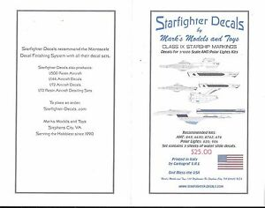 Starfighter Classe Ix Starship Mrkgs , 1/1000, Amt Polar Kit Lampe Décalques Sfa