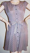 LAUREN CONRAD MINI-DRESS Sz 6 Gray w/PINK Polka-Dots & RHINESTONE Full Skirt