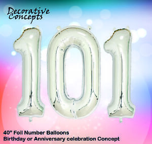 """Giant 101st Birthday Party 40"""" Foil Balloon Helium Air Decoration Age 101 SILVER"""