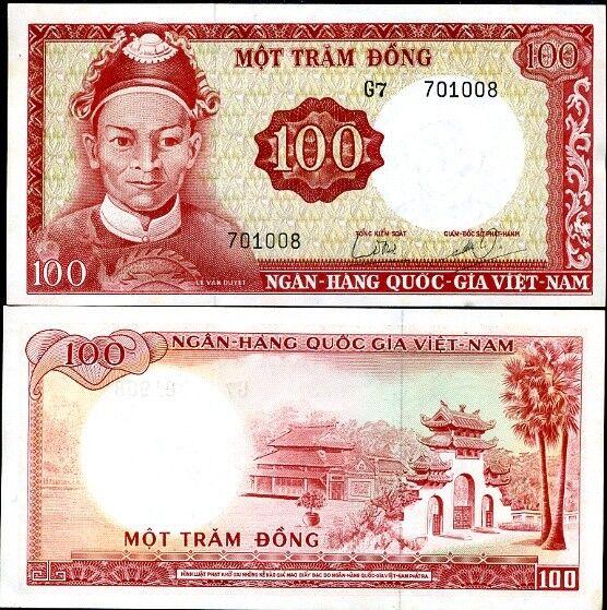 SOUTH VIETNAM 100 DONG 1966 P 19 b AUNC LITTLE YELLOW TONE