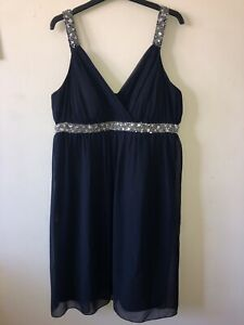 Ladies-Heine-Size-18-Formal-Dress-Beaded-Sequin-Empire-Line-Straps-Chiffon-Feel