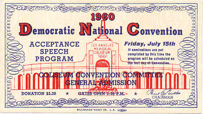 1960 Democratic Convention John F Kennedy Acceptance Speech Ticket 4772