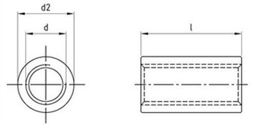 Art 9070 Rundmuffen Edelstahl A2 A4 verschiedene Abmessungen