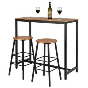 3 Pub Bar Wood Table Dining Kitchen Rectangular Furniture Counter Height Table
