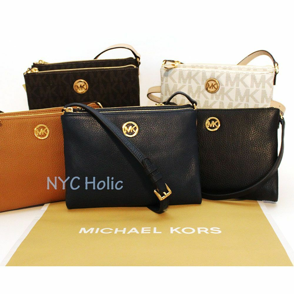 567723d52a690 New Michael Kors Fulton EW Crossbody In Pebble Leather Or PVC NWT