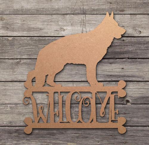 German Shepherd Welcome Sign Wooden Laser Cut Mdf Dog Craft Blanks Shapes