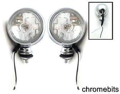 """2 x Bright Chrome Front Fog Spot Round Lights Motorbike Motorcycle Boat 55W 4"""""""