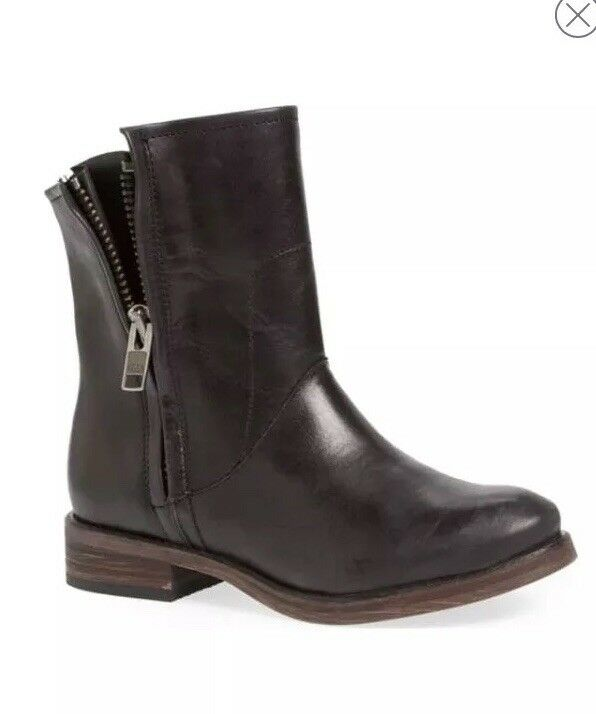 Hinge Womens Sheldon Distressed Leather Dounle Zip Ankle Flat Boots 8.5  New
