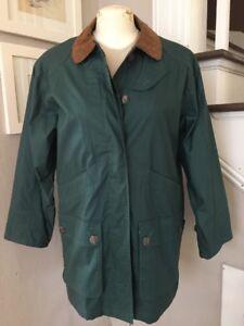 Vintage 1980s Eddie Bauer Green Waxed Cotton Field Jacket