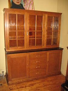 WE-SHIP-Oak-School-Cabinet-Step-Back-Cupboard-China-Bookcase-E-H-Sheldon-1920-039-s