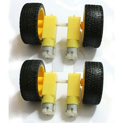 4x New Plastic Smart Car Robot Tire With DC 6V Gear Motor Set Kit for Arduino