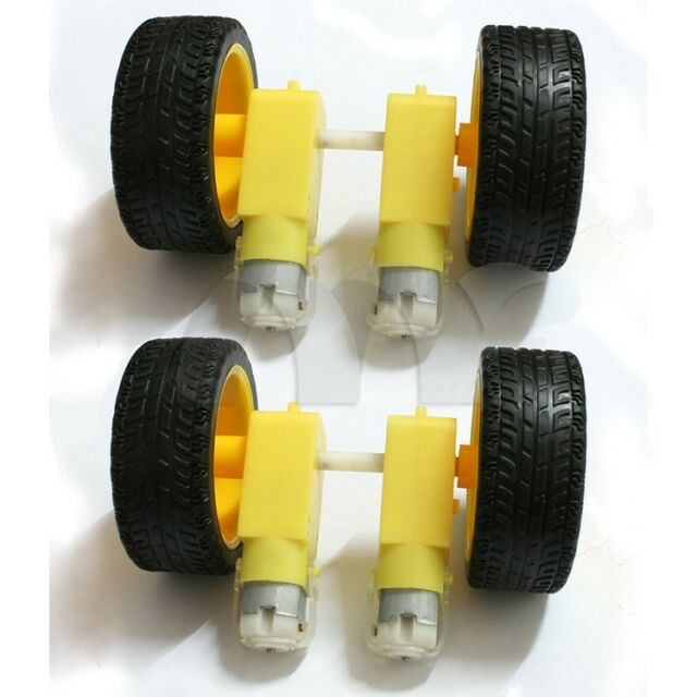 4 Pcs Smart Car Robot Plastic Tire Tyre Wheel + DC 6V Gear Motor Set for Arduino