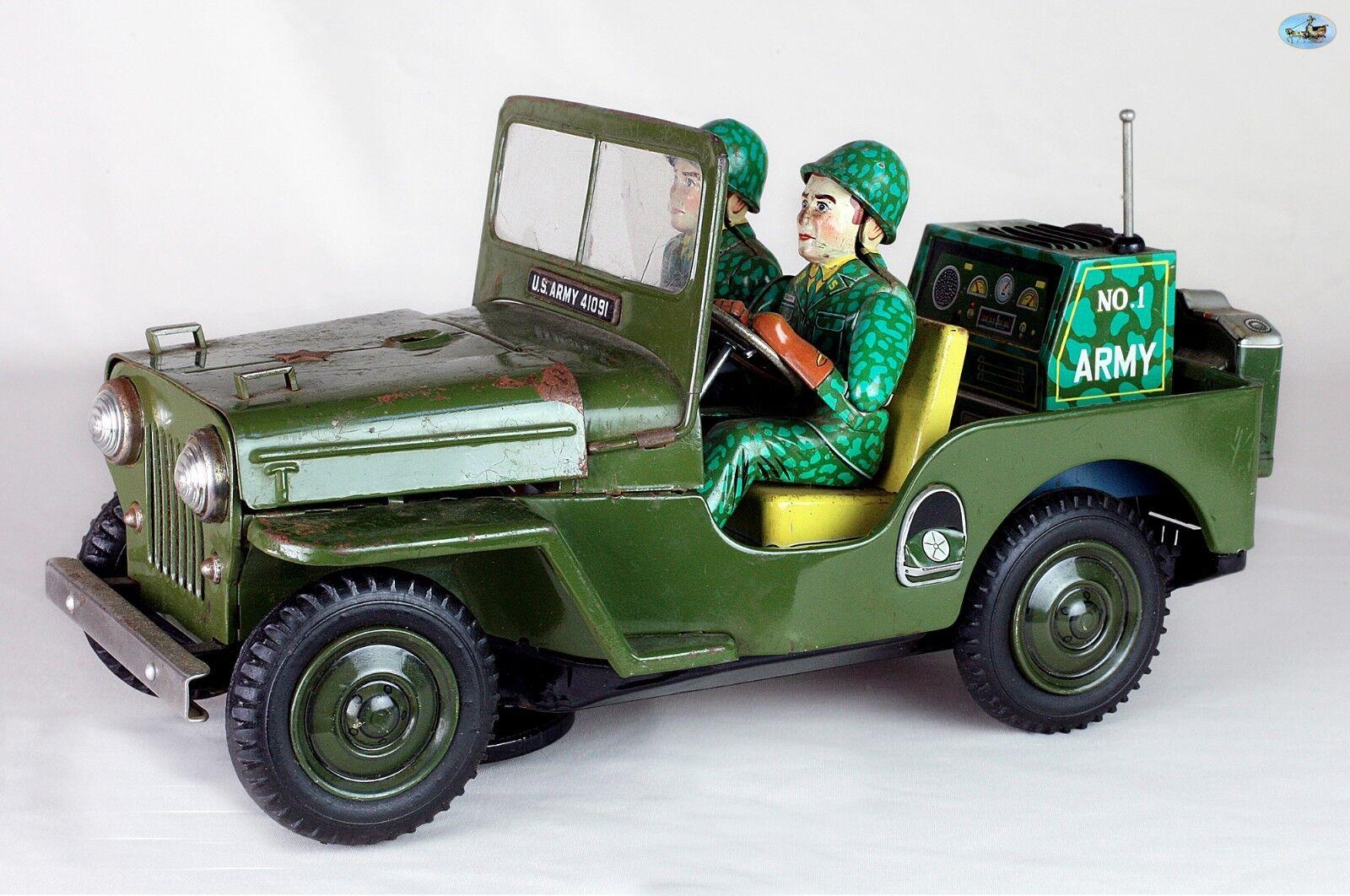 SUPERBE 1950 vintage japonais vert JEEP WILLYS Nº 1 soldats de l'armée jouet voiture