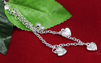 Fashion925sterling solid Silver Anklet Foot Chain heart Ankle Barefoot Bracelet