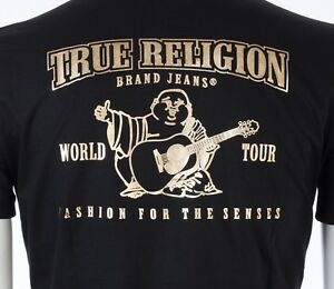 8be145133ad98 TRUE RELIGION Mens T-Shirt BUDDHA Black with Gold Foil  79 Jeans NWT ...