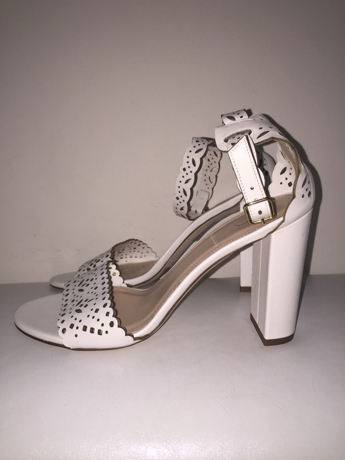 NEW JCREW LEATHER EYELET HIGH-HEEL SANDALS 8 SHOES f1317  268 WHITE NEW