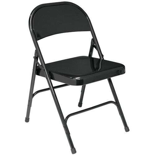 Carton of 4 National Public Seating 50 Series All Steel Standard Folding Chair with Double Brace 480 lbs Capacity Beige