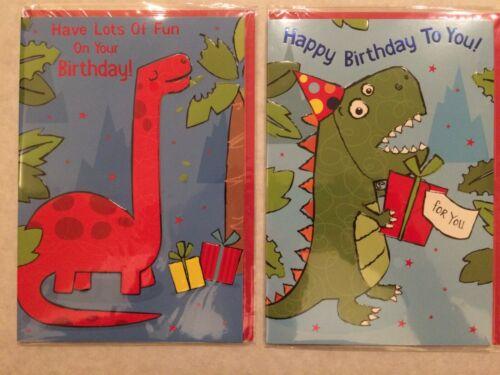 o//age ** choice of 2 designs ** Birthday Card Dinosaur: Red // Green Boy