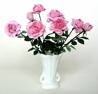Dolls House FLOWER KIT 10 PINK HERITAGE ROSES  miniature garden plant 12th scale