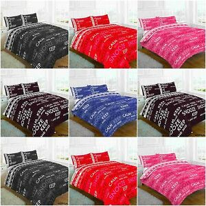 KEEP CALM BLACK BLUE CHOCOLATE FUCHSIA RED DUVET QUILT COVER BED