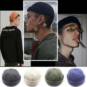 Retro-Men-Hip-Hop-SkullCap-Sailor-Cap-Brimless-Landlord-Beanie-Hat-Adjustable