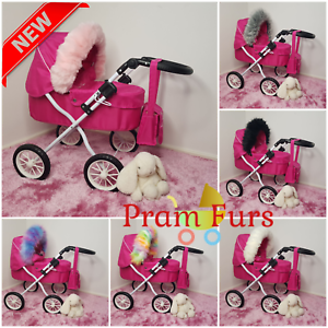 DOLLS-Pram-Luxury-Faux-Fur-HOOD-TRIM-Baby-Girls-Pushchairs-Prams-Toys-Play-Doll