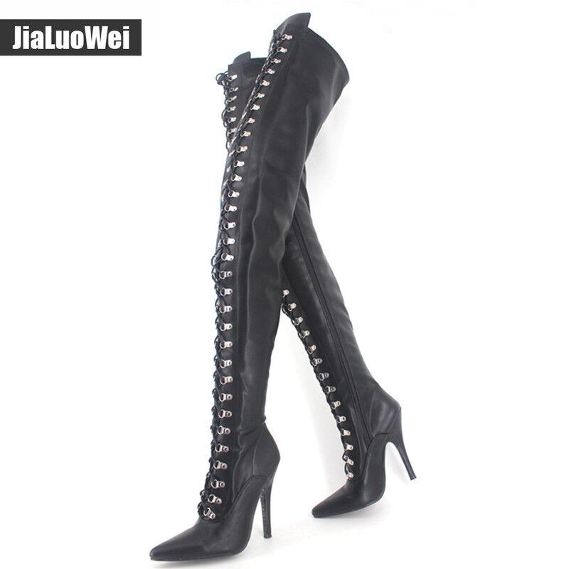 12CM High Heel Lace-Up Full Zip Flex PU Thigh Over-Knee Credch High Boots