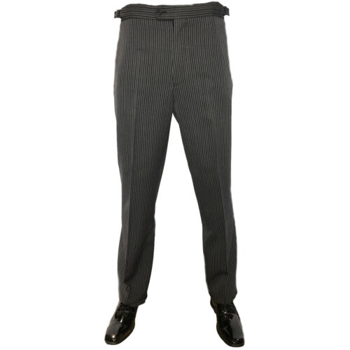TROUSERS FOR ROYAL ASCOT EX HIRE BLACK GREY STRIPE TROUSER SIDE ADJUSTERS