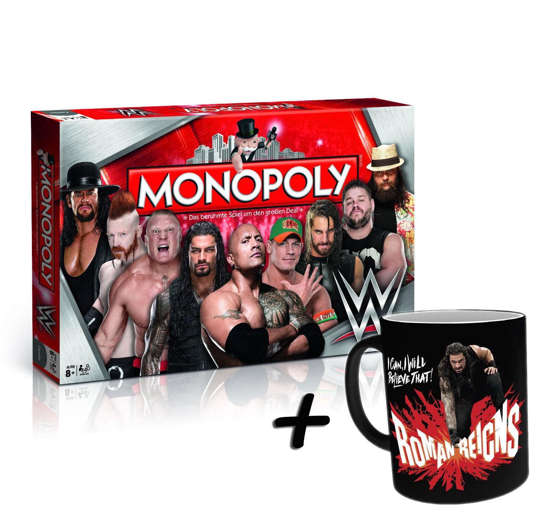 Monopoly WWE Wrestling + Zaubertasse Roman Reigns Tasse Kaffeetasse Heat Change