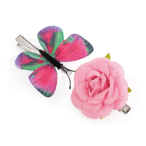 Pack of 2 Flower and Butterfly Hair Beak Clips Girls Hair Clips Hair Accessory