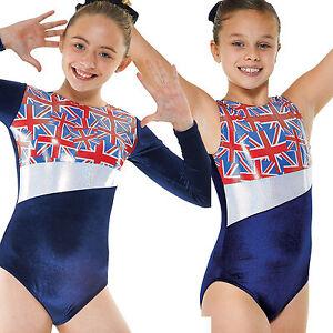 Blue Velvet Gymnastics Leotard with Union Jack Yoke Girls ...