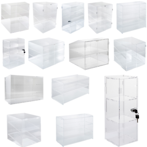 2-3-4-Shelves-Acrylic-Display-Cabinet-Glued-Unassembled-Bakery-Clear-Pastry