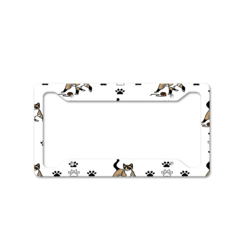 Snowshoe Cat Paws Auto Car License Plate Frame Tag Holder 4 Hole