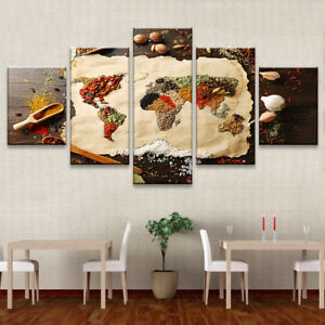 Spices World Map Painting 5pcanvas Print Kitchen Poster Wall Art