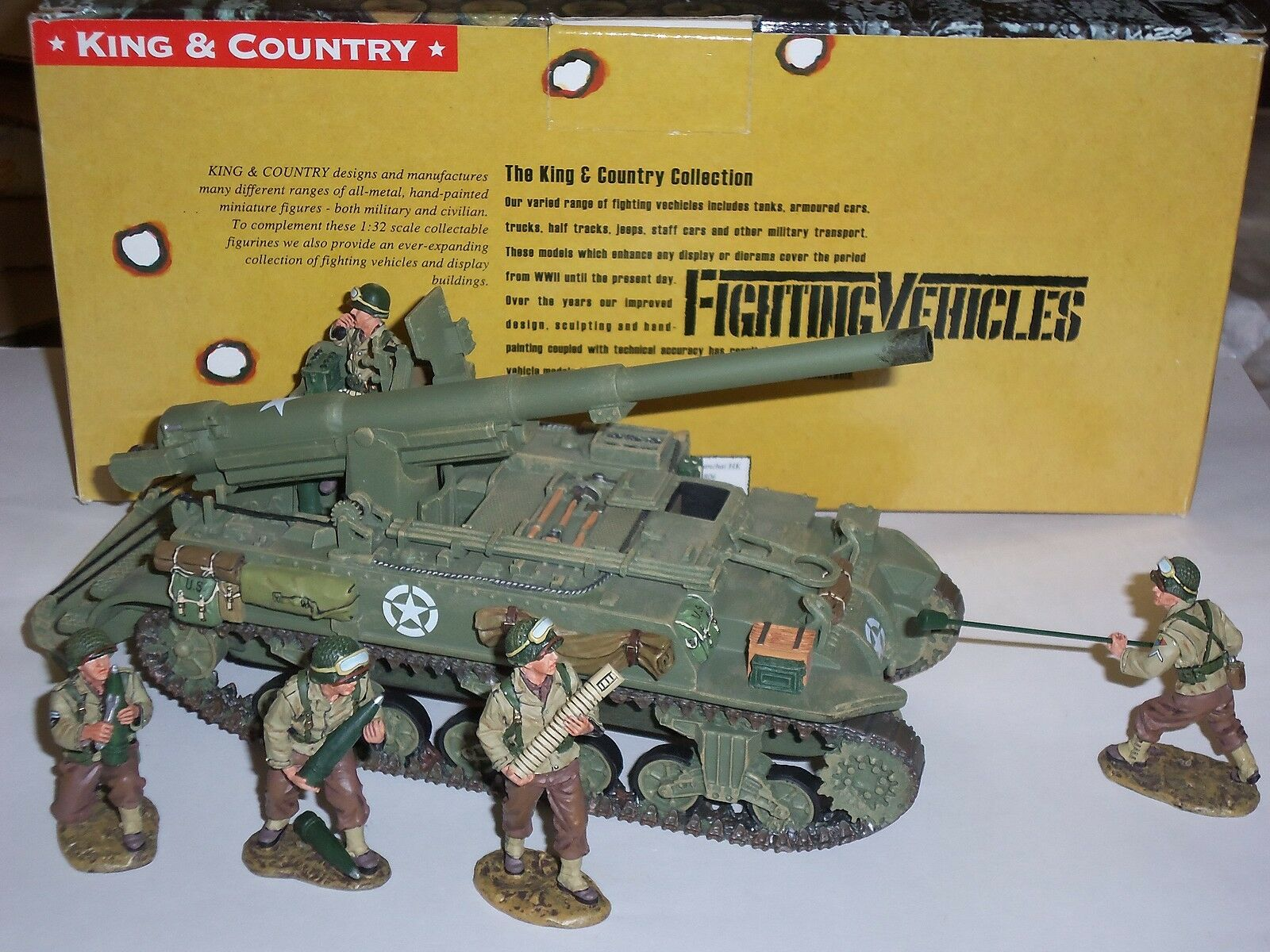 KING AND COUNTRY DD78 M12 155MM MILITARY GUN MOTOR CARRIAGE + TOY SOLDIER CREW