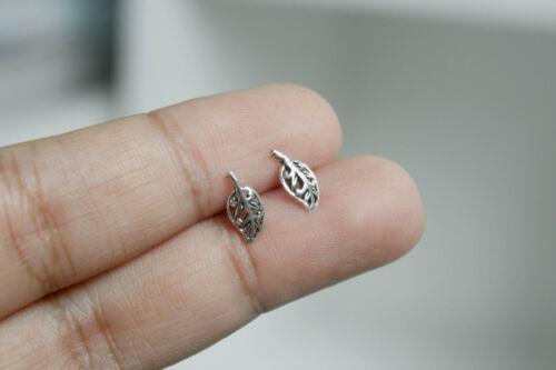 Argent Sterling 925 Boucles D/'Oreilles Cartilage Pour Femmes Petite Feuille Helix Tragus oreille Stud