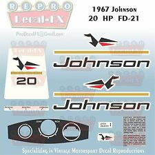 1967 Johnson 20HP FD-21 Sea Horse Outboard Reproduction 12Pc Marine Vinyl Decals