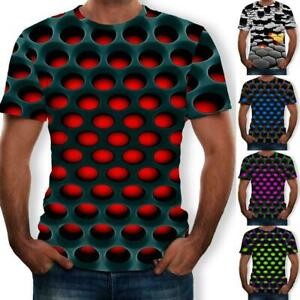 Funny-Hypnosis-3D-T-Shirt-Men-Women-Colorful-Print-Casual-Short-Sleeve-Tops-KAS