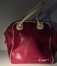 Retro Vintage Red Canon Camera Bag w/ White Straps