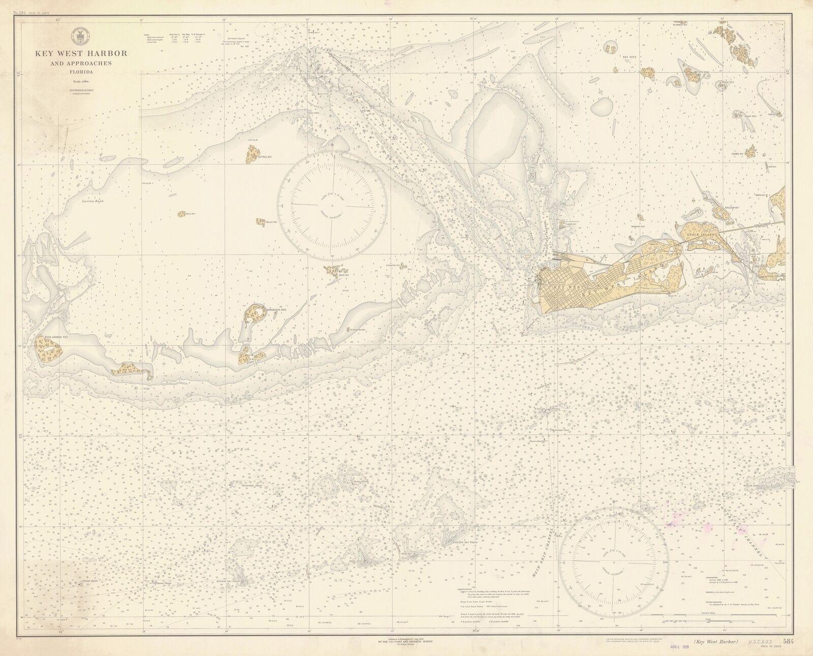 Key West Historical Map - 1933