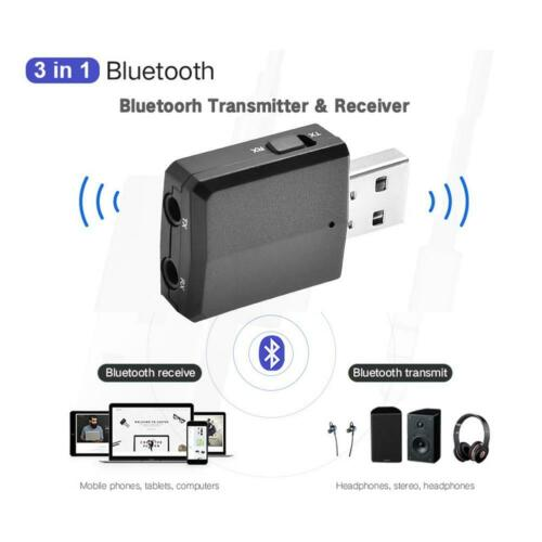USB Bluetooth V5.0EDR Transmitter Receiver Wireless A2DP Audio 3.5mm Aux Adapter