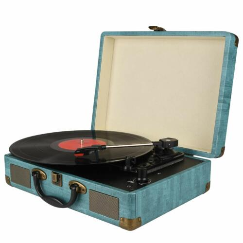 Portable Record Player 3-Speed Bluetooth Suitcase Turntable with Stereo Speakers