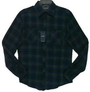 Paper-Denim-amp-Cloth-Royal-Grey-Plaid-Flannel-Shirt-Men-039-s-Size-Small-New