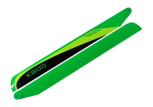 KBDD 430mm FBL Black Trex 500 Yellow Carbon Fiber Main Rotor Blades Lime